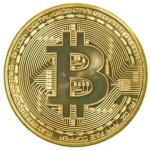 Moneta Bitcoin placcata oro